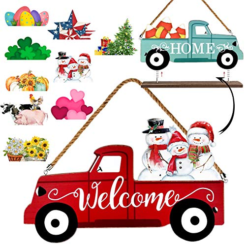 Winder Truck Welcome Sign & Home Sign, 2-Side Red Truck Christmas Decor Signs with 10 Pcs Icons for Front Door, Holiday, Fall, Christmas, Harvest, Easter, Halloween, Seasonal and Interchangeable Wall Hanging & Freestanding Tabletop Decor for Your Home