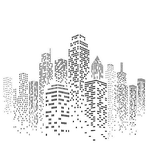 Skyscraper Schablone, 47 x 35,6 cm (M) - Stadtbild Skyline Stadt Gebäude Schablonen für Malvorlage
