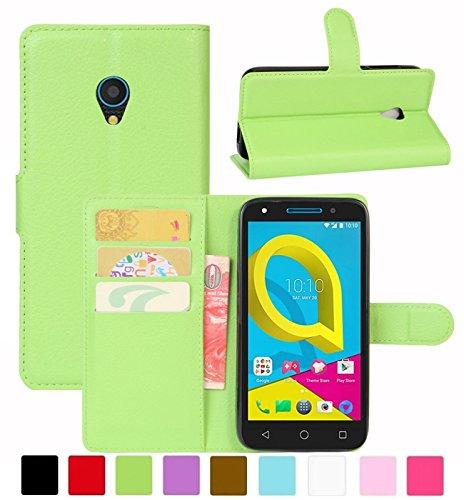 HualuBro Alcatel U5 3G Hülle, Leder Brieftasche Etui Tasche Schutzhülle HandyHülle [Standfunktion] Leather Wallet Flip Hülle Cover für Alcatel U5 3G (Grün)
