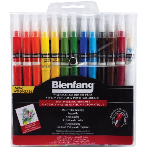 Bienfang Watercolor Brush Pens, Set of 12