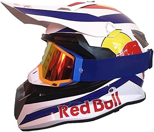 Casco De Motocross, Red Bull Casco De Moto Para Niños Y Adultos Casco Integral Carcasa ABS Y Ventilación Porosa Cierre Rápido Forro Desmontable - Negro/Blanco 2,S = (55~56CM)