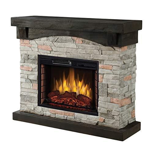 "Muskoka 42"" Sable Mills Grey Faux Stone Mantel Electric Fireplace"