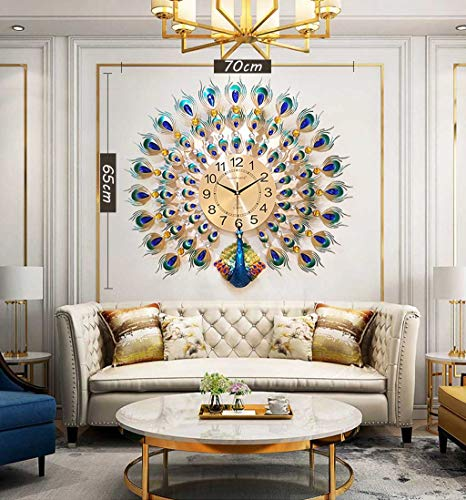 Hauptdekoration 3D Pfau Wanduhr Kristall stille Quarzuhr, geeignet für Wohnzimmer, Esszimmer, Veranda