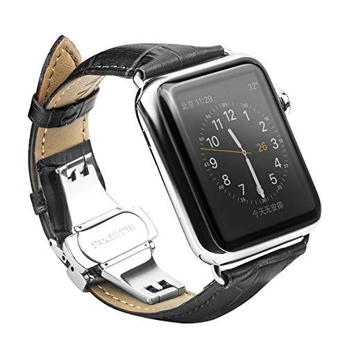 CoverKingz Leder Armband kompatibel mit Apple Watch 42mm/44mm/45mm, Lederarmband für Series 7/6/SE/5/4/3/2/1, Edelstahl Butterfly Faltschließe, Leder Band Schwarz