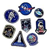 Toppe termoadesive con motivo astronauta e bandiera, varie dimensioni, decorazione da cucire fai da te per jeans, giacche, abbigliamento, badge personalizzati, 1 set