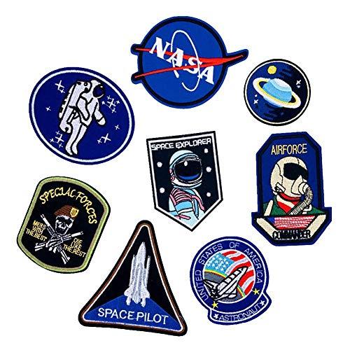 Aufnäher zum Aufbügeln, Motiv: Weltraum, Astronaut & Flagge, bestickt, verschiedene Größen, Dekoration, zum Aufnähen, für Jeans, Jacken, Kleidung, 1 Set