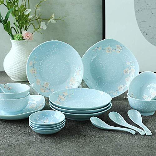 WY-YAN Tazón de Cereales tazón de cerámica de cerámica del vajilla del Plato Placa de Ajuste 18-Head Set vajilla de Porcelana for la Cocina tazón de Cereal Cuenco/Sopa (Color: Azul, tamaño: un tamañ