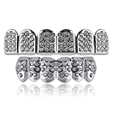 TOPGRILLZ 14K Gold and Silver Plated Iced Out CZ Diamond Top and Bottom Grillz for Your Teeth Hip Hop Men Jewelry (White Gold 6 Fangs)