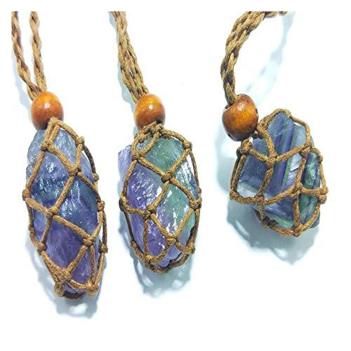 HETHYAN 1 colgante natural de fluorita irregular de piedra original trenzada, collar de cadena de suéter, colgante de 25 a 30 mm (color: 1)