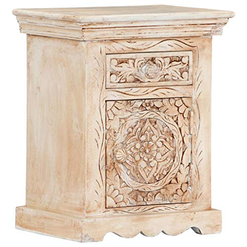 vidaXL Mangoholz Massiv Nachttisch mit 1 Schublade 1 Tür Vintage Nachtschrank Nachtkommode Nachtkonsole Schlafzimmer Kommode Schrank 40x30x50cm