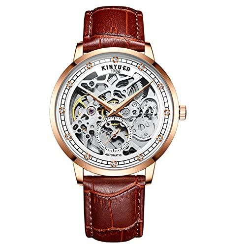 JTTM Relojes Analógicos Automáticos Mecánicos Relojes De Esqueleto Hombres Reloj con Correa De Cuero Azul Relojes De Pulsera Impermeables para Hombres De Negocios Hombres,Marrón,Men