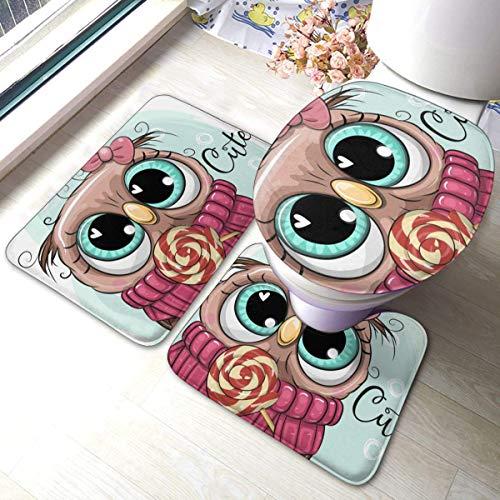 Juego de alfombras de baño RedBeans antideslizantes de 3 piezas de franela para baño, diseño de búho con piruleta de pedestal suave antideslizante para ducha, alfombra de inodoro