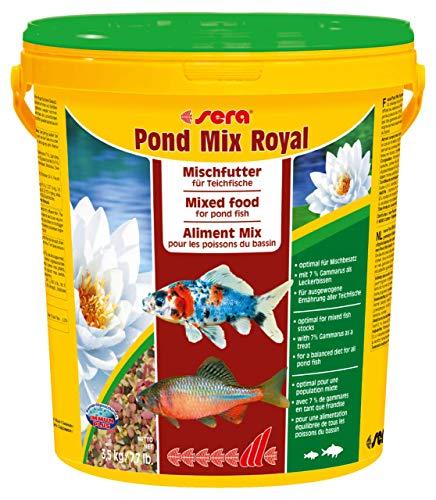 sera 07108 pond mix royal 21 l - Futtermischung aus Flocken, Sticks und mit 7 % Gammarus als Leckerbissen für alle Teichfische