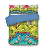 Blue 3pc Bedding Set,Fantasy Landscape Countryside Castle Pink Tree Colorful Cartoon Playroom Nursery Decor King Duvet Cover Set,Printed Comforter Cover With 2 Pillowcases for Teens Boys Girls & Adult