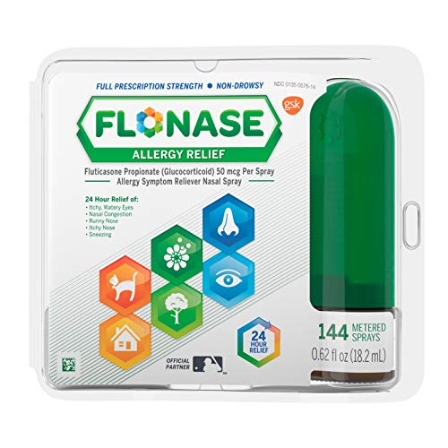 Flonase Allergy Relief Nasal Spray, 24 Hour Non Drowsy Allergy Medicine, Metered Nasal Spray - 144...