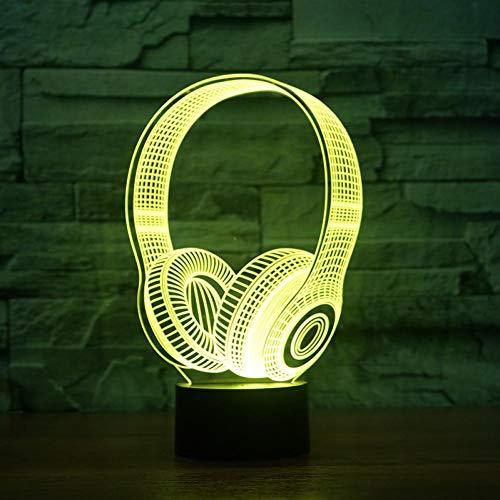 LIkaxyd LED 3D-nachtlampje, optische illusielamp 7 kleuren veranderen, Touch USB & batterij-aangedreven speelgoed decoratieve lamp, beste cadeau voor kinderen-Mode koptelefoon