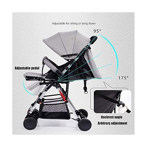 LAMTON High Landscape Easy Folding Baby Light Jogging Detachable Four Season Baby Stroller, Suitable for 0-36 Months Baby Can Withstand 55PL LAMTON This high-view stroller is made of linen and breathable. The frame is made of aerospace aluminum to make the body lighter, more stable and safer. The awning can be adjusted at any angle to cope with all kinds of weather. The awning is equipped with a back pocket for parents to store items they carry with them, such as mobile phones and car keys. The tires use EVA solid foam wheels to avoid problems with aeration and puncture. The rear wheels are equipped with brakes, front wheel suspension and 360° steering for a variety of roads. 3