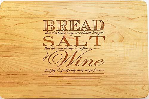 Engraved Boos Block Cutting Board 'Bread Salt Wine' from It's a Wonderful Life on Maple Housewarming or Realtor Closing Gift