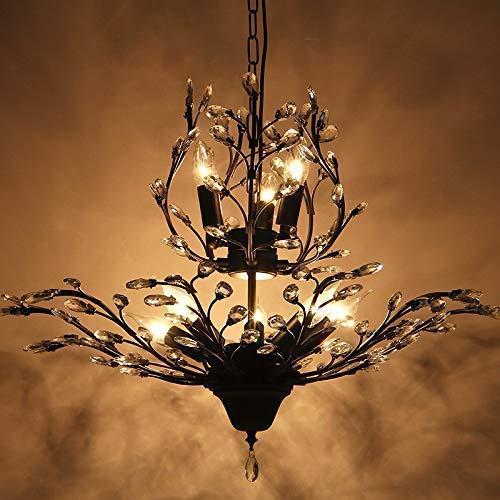 SGWH kristallen boom tak kroonluchter Amerikaans land grote woonkamer creatieve persoonlijkheid restaurant plafond café retro Europese lampen, 8