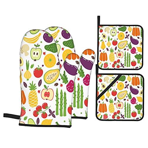 Verdure di Doodle di cibo naturale biologico di frutta colorata disegnata a mano,Guanti da Forno e Set di Presine,4Pcs Resistenza al Calore Impermeabile Guanti Pastiglie per Cucina Cottura BBQ