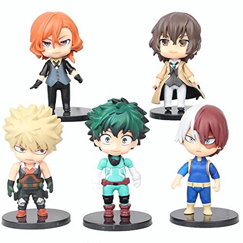 5 unids / Set mi héroe Academia Figura de Anime Juguete Midoriya Izuku Bakugo Katsuki Todoroki Shoto Iida Tenya PVC Modelo Figuras de acción Juguetes 10Cm