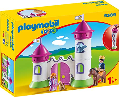 PLAYMOBIL- 1.2.3 Castillo con Torre Apilable Juguete, Multic