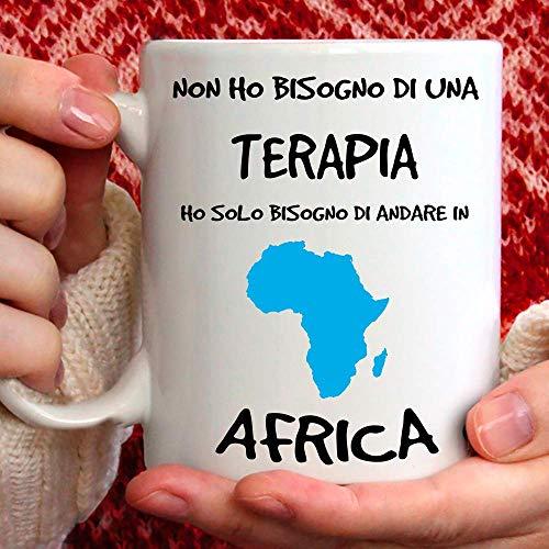 Taza Terapia Andar in África de cerámica – 350 ml para ti o como regalo para hombre, amigo, padre, Zo, primo, abuelo, cumpleaños, aniversario