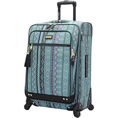 Steve Madden Designer Luggage Collection - Expandable 24 Inch Softside Bag - Durable Mid-sized Lightweight Checked Suitcase with 4-Rolling Spinner Wheels (Legends Turquoise)