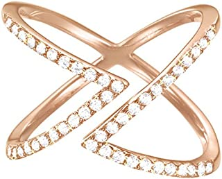 ESPRIT Women's Ring Partially Gold-Plated 925Silver JW50217Pink and White ESRG92617°C