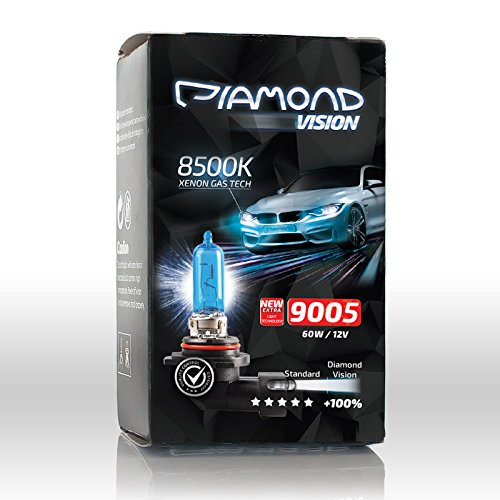 2x HB3 9005 8500K 12V 60W Diamond Vision Xenon Look Effekt Halogen KFZ Lampen Birnen Licht Optik Super Ultra White 8500k Fernlicht Kaltweiss Blue Blau Weißes Licht Weiß Duobox P20D