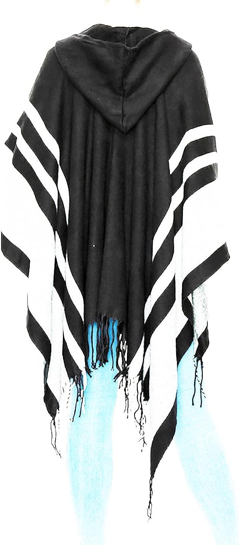 Women's Shawl Wrap PonchoColor Block Hooded Cardigan Black
