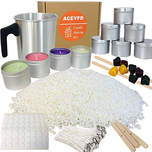 ACEYFD Candles Making Kit Supplies -Easy to Make Colored Candles- DIY Gift Kits Include Candle Pouring Pitcher, 2.2 LBs Soy Wax, Centering Devices, Tins, Wicks, Wicks Sticker & Stir Rod