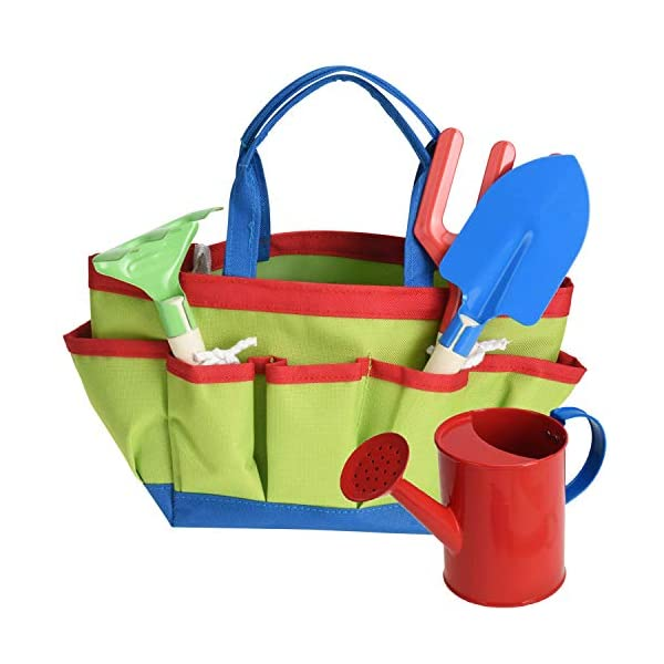 Kids Garden Tools Outdoor Play Set & Carry Bag Includes Watering Can Shovel Rake & Fork Toy