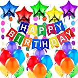 """Decorazione Festa di Compleanno. Bandierine di Buon Compleanno """"Happy Birthday"""" +5 Palloncini a Stella + 2 Festoni Arcobaleno di 3 m + 18 Palloncini Multicolore"""
