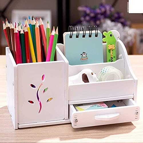 leoye Bokye Soporte multifuncional para bolígrafos, bonito soporte de papelería para estudiantes, soporte para bolígrafos rosa gato 22 x 11 x 12 cm (9 x 4 x 5 pulgadas) (color: hierba blanca)