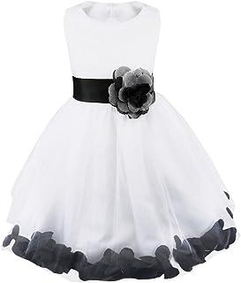 995b6c7847eb5 IEFIEL Robe Demoiselle d honneur Enfant Jupe Loose Pétales Noeud Papillon  au Dos Fleur Robe