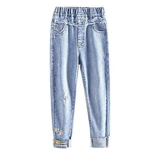 NOBRAND Jeans para niñas con Agujero Jeans para niños para niñas Jeans Rectos para niños Ropa para niños 6 8 10 12 14 años