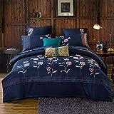 yaonuli Langstapelige Baumwolle Baumwolle vierteilige Stickerei Einfache einfarbige Bettwäsche Baumwolle Laken vierteiliges Set 1,5-1,8 m Bett