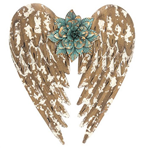Mission Gallery Beautifully Distressed Gold Metal Angel Wings with Flower in Center Wall Home Decor ~ 14.5""