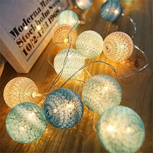 Lumineuse à LED Lampada a sfera in Cotone a LED 20 Pezzi Palla di Cotone Stringa Luci di fata decorative per interni portatili Tavolo da pranzo, Soggiorno, Camera da letto, Natale, Compleanno