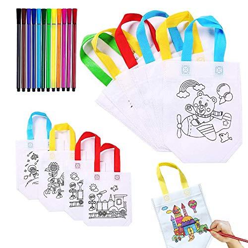 YOUYIKE Bolsas para Colorear, 10 Bolsa Graffiti DIY con 12 Juegos de Bolígrafos para Colorear, Bolsas para Pintar, Bolsa Infantiles para Colorear, para Fiestas de Cumpleaños, Escuelas Celebraciones