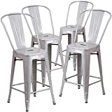 BELLEZE Indoor/Outdoor Barstool Stool with High Backrest Bar Counter Height Kitchen Home (4 Pack), 30'-inch, Silver