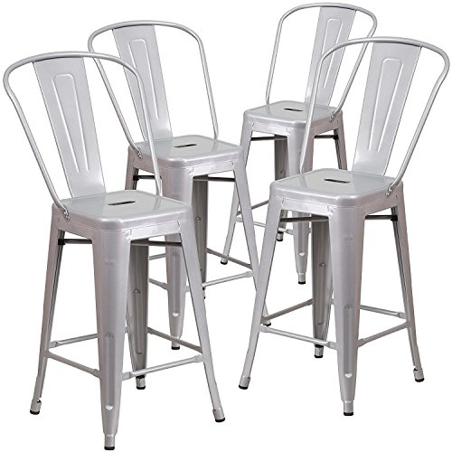 BELLEZE (4-PC 24'' High Silver Indoor-Outdoor Counter Height Stool with Back