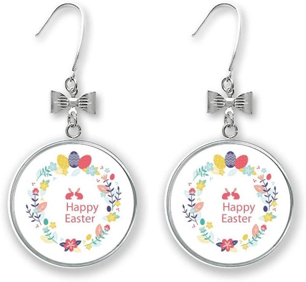 Happy Easter Religion Festival Leaves Flower Earrings 5% OFF Bow Popular brand in the world Drop S