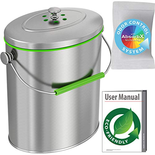Review Of iTouchless Titanium 1.6 Gallon Oval, 1.3, Trash Can, Compost Bin