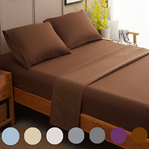 SONORO KATE Bed Sheet Set Super Soft Microfiber 1800 Thread Count Luxury Egyptian Sheets Fit 18-24 Inch Deep Pocket Mattress Wrinkle and Hypoallergenic-4 Piece (Brown, Queen)