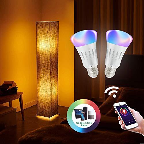 Yinleader 61'' Alexa Lampadaire intelligent Wi-Fi, Lampe LED RVB à changement de couleur multicolore à gradation, avec abat-jour en tissu et métal, commande pour smartphone compatible avec Alexa