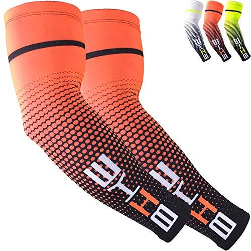 1 paire de manchons de compression pour homme et femme - orange - Large