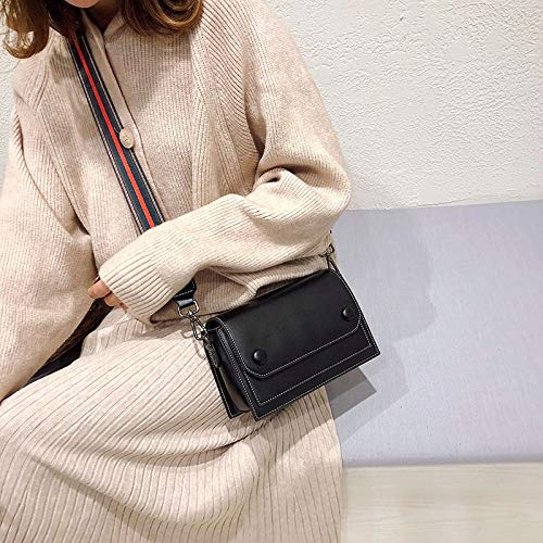 MFENG STORE Casual PU Shoulder Bag Ladies Handbag Messenger Bag (Black) (Color : Black)