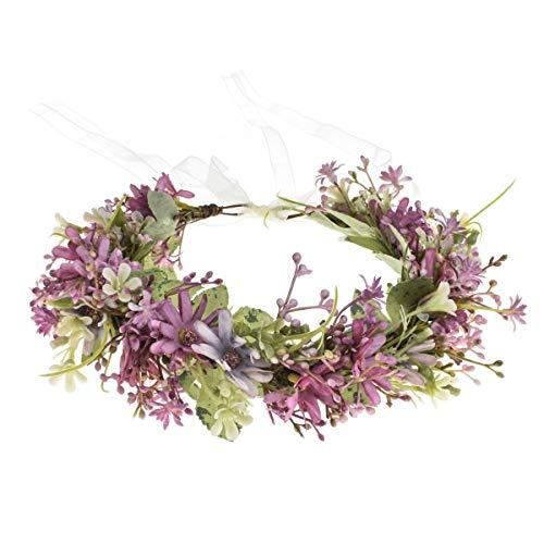 Vividsun Boho Girl Flower Crown Floral Headpiece Wedding Festivals Photo Props (Purple)